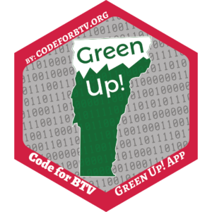Red, green, white, and gray hexagon-shaped sticker for Green Up! app project.